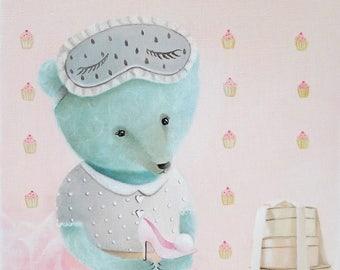 Pink Teddy bear, animal painting, whimsical animal illustration, baby girl nursery art, kids art, nursery illustration, animals in clothes