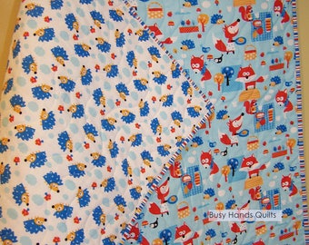 Ready to Ship, Foxes and Hedgehogs, Modern Baby Quilt, Baby Shower Gift, Quilts For Sale, BusyHandsQuilts