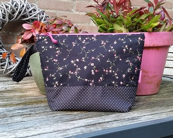 """Project bag """"Roses"""", lined and interfaced, Leukgemaakt, knitting project bag, project bag for knitting, gift for her, woman, birthday"""