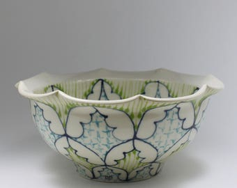 Handmade Wheel Thrown Ceramic Bowl with Kiwi, Sky Blue and Navy Pattern
