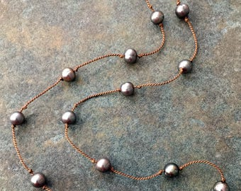 Light Brown Freshwater Pearls Knotted on Brown Silk Cord Necklace