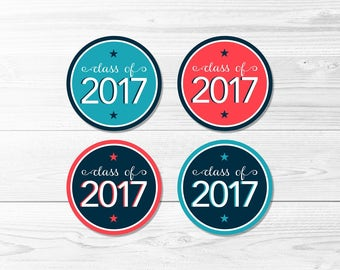 Graduation Round Labels -- Class of 2017, Ocean & Coral, Navy Blue, Coral, Graduation Party, 1 Inch, 2 Inch, Printable, Instant Download