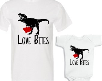 Love Bites Valentine's Daddy and Me White Shirts Set