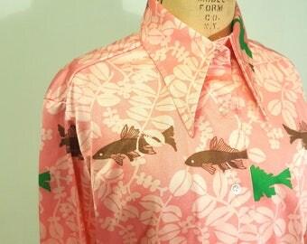 Pink! Vintage 1970s Lanvin Novelty Print Blouse. Fish Print. Early 70s Disco Era. Large