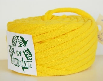 Recycled T-Shirt Yarn, Yellow 23.5 Yrds , T Shirt Yarn, Bulky