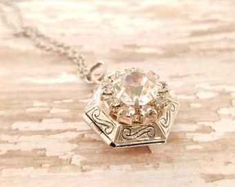 SALE Locket Necklace -Photo Locket - Silver Locket - Vintage Locket - Bridesmaid Locket - Long Locket - Mother Gift - Teacher Gift - Wedding
