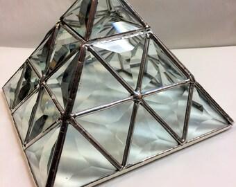 Stained Glass Jewelry Trinket Keepsake Box - Bevel Triangle Pyramid Box (PLG092)