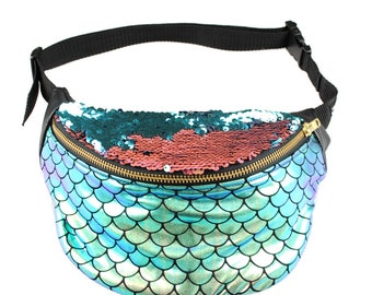ALANA iridescent foiled mermaid in gold/green, sequin lid bumbag fanny pack.