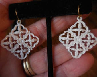 Vintage 1950s to 1960s Updated White Enamel Gold Tone Pierced Earrings Square Dangles Retro Open Metal Work