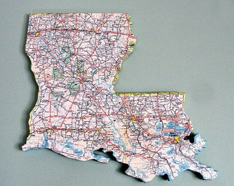 LOUISIANA State Vintage Map Wall Art (Small size)