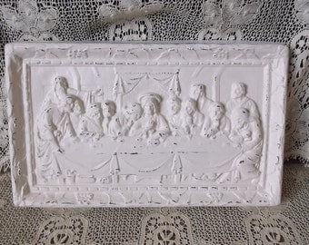 Vintage Shabby, Last Supper, Wall hanging, wall decor The Lords supper, shabby white, chalkware