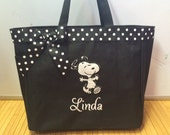 Personalized Baby Dancing Snoopy Tote Diaper Bag Boy or Girl