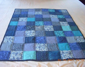 Handmade Baby Toddler Quilt Blues Cotton Fabric