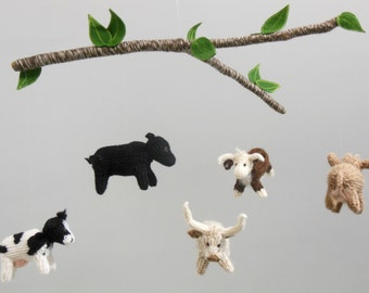 Cow Mobile, Cow Baby Mobile, Farm Nursery, Boy Baby Nursery, knit animal mobile, Gender Neutral Nursery, Cow hanging crib mobile, Cattle