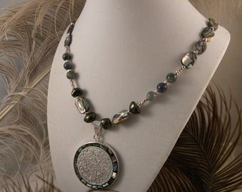 Mayan Abalone Necklace with Kyanite and Paua Beads.