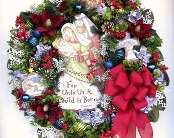 Christmas Spiritual Wreath-Isaiah 9-6 -For Unto Us A Child Is Born- Wreath-Door/Wall Wreath-Christian Wreath-Burgundy-Green-Blue