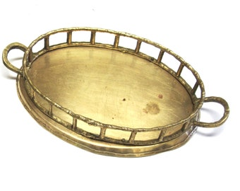 Bamboo Brass Tray Small Oval Dresser Jewelry Holder