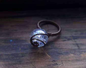 Aurora Glass Crackle Marble Wire Wrapped Wizard Ring