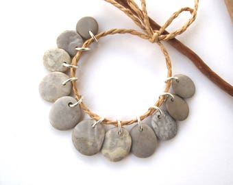 Rock Charms Drilled River Stones Mediterranean Diy Jewelry Natural Stone Pebble Charms Beach Stone Pairs LATTE MIX 15-17 mm.