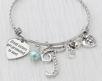 NEW AUNT GIFT, Birthday Gift, Bangle Bracelet,Great Sisters Get Promoted to Aunt,Personalized Bangle- Footprint Charm,Pregnancy Announcement