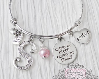 Sister Gift- Bracelet-Sisters by Blood Friends by Choice, Sister Bracelet Jewelry,Personalized Bangle, Gifts for Sister Birthday- Bangle