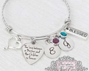 Mother's Day Gift - Birthstone Bangle Bracelet- From Daughter- From Son,Personalized -The love a between mother and her Children-Best Mom