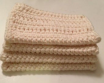 4 large dish cloths/ dish rags/ wash cloths made of 100% cotton yarn in Off White