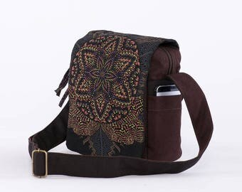 Canvas Crossbody Bag For Men and Women, Cross Body Bag, Small Crossbody Bag, Sacred Geometry, Shoulder Bag, Festival Gear
