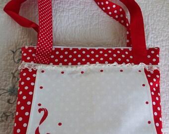 Red White Polka Dots Vintage Linen Napkin Ladies Purse Handbag Cottage Style Purses