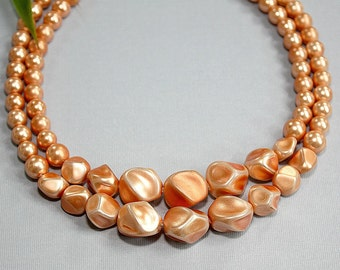 Vintage Beaded 2 Strand Necklace Choker ~ Peach Faux Pearl Beads ~ MOD 60's Fashion ~ Retro Estate Jewelry ~ Birthday Gift For Her