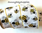 Bees Ribbon,  Bumble Bees, Wide and Wired Ribbon,  2.5 inches wide,  2 Yards,  Black and Yellow Bees, Wreath, Bows, Nature, Bugs, Bees