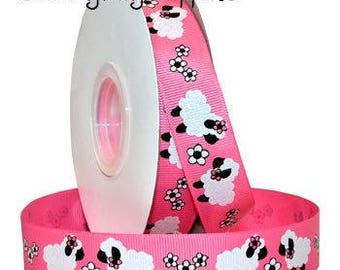 Sheep Grosgrain Ribbon, Fluffy White Glitter Sheep, Hot Pink Grosgrain Ribbon, 3 Yards, 7/8 inch wide, Morex Ribbon, Baby, Shower, Birthday