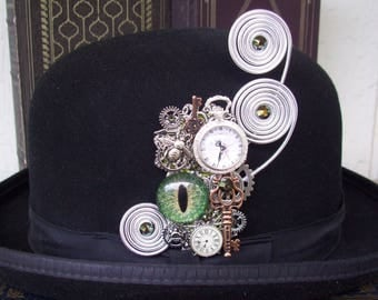 Clockworks Hat Adornment (P719) Pin or Brooch, Hand Painted Glass Eye, Faux Pocket Watch, Gears and Keys, Swarovski Crystals