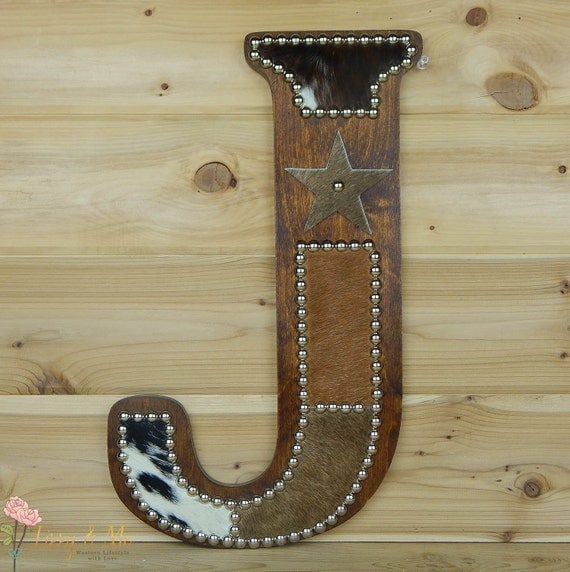 Cowhide Wall Letter J Western Home Decor Wall Hanging