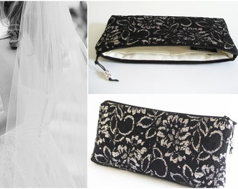 Mother of Bride Groom Gift Clutch Bag Victorian Wedding Black Silver Gold Purse Halloween Costume Accessory