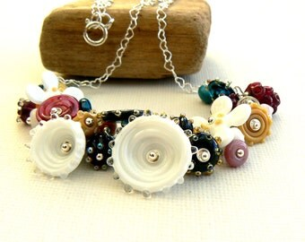 Handmade Lampwork and Silver Necklace,Cluster Lampwork Bead Necklace,White,Blue and Pink Flower Necklace,OOAK