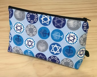 Make-up Case/Shave Kit Case in Jewish Themed Cotton