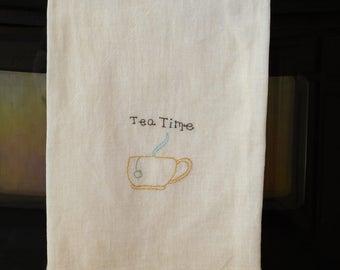 Tea Towel Flour Sack, Original Design, Kitchen Tea Towel,  Tea Stained Dish Towel, Primitive Decor, Folk Art Design, Kitchen Decor