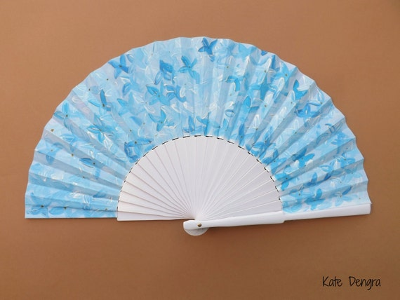 Pale Blue Hydrangea Flower Fabric White Wooden Hand Fan Hand-held Folding Flamenco Fabric Fan by Kate Dengra Spain