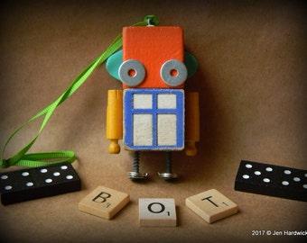 50% OFF - Robot Ornament - Window Bot (Orange/Blue) - Upcycled Ornament - Hanging Decor by Jen Hardwick
