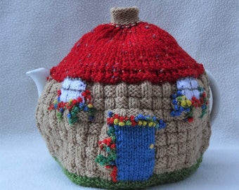 English Cottage design Hand knitted Tea Cosy