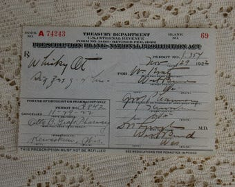 Vintage Prohibition Whiskey Prescription Pharmacy Medical Alcohol Bar Rx Wisconsin 11/29/1922 Drug Store Speakeasy Rare