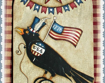 E PATTERN - Yankee Doodle Crow - Fun, Funky, Primitive and Americana! Liberty Crow - Painted & Designed by Sharon B - FAAP