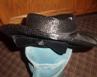 vintage ladies hat glossy black strawlike velvet bow sally vielor