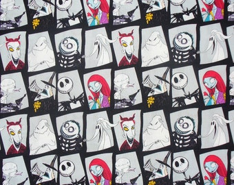 Nightmare before Christmas Fabric, Character Blocks, Jack Skellington, Jack and Sally, Camelot Cottons, By the Yard