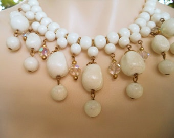 Vintage White Porcelain or Milk Glass Choker with Matching Bracelet Dangle Prisms and Gold Tone Accents