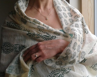 Raw Silk, Indian Hand Block Printed Scarf, Dupatta, Shawl