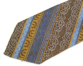 1970s  1960s Tie Wide Tie Print Necktie Gold Blue Tie 60s 70s Playboy Tie Playboy Neckwear Vintage Wide Tie