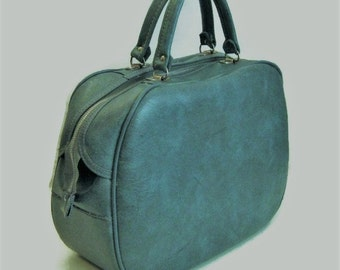 60s Blue Suitcase  Small Blue Suitcase Blue Tote Vintage Luggage 1960s Vinyl Suitcase Blue Overnight Bag Blue Green Tote Blue Vinyl Bag