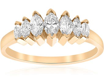 Yellow Gold Marquise Diamond Wedding Ring 3/4ct 14k Gold Diamond Wedding Marquise Ring Wedding Womens Anniversary Genuine Band Brilliant Cut
